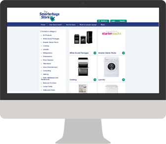 The Smarterbuys Store Durham Category page shown on a MacBook
